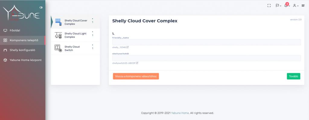 Shelly konfigurátor yabune home